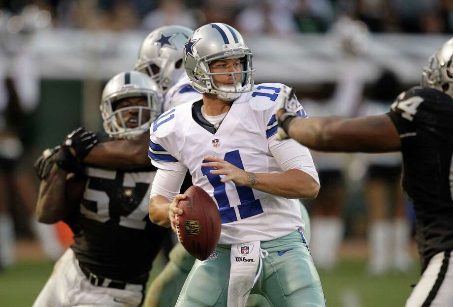 Dallas Cowboys quarterback Rudy Carpenter (11) passes against the Oakland Raiders during the second half of an NFL preseason football game in Oakland, Calif., Monday, Aug. 13, 2012. (AP Photo/Ben Margot) Photo: Ben Margot, Associated Press / AP