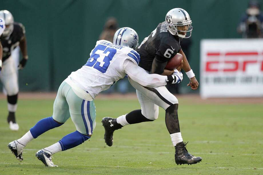Oakland Raiders quarterback Terrelle Pryor (6) scrambles against Dallas Cowboys linebacker Adrian Hamilton (53) during the second half of an NFL preseason football game in Oakland, Calif., Monday, Aug. 13, 2012.  (AP Photo/Ben Margot) Photo: Ben Margot, Associated Press / AP