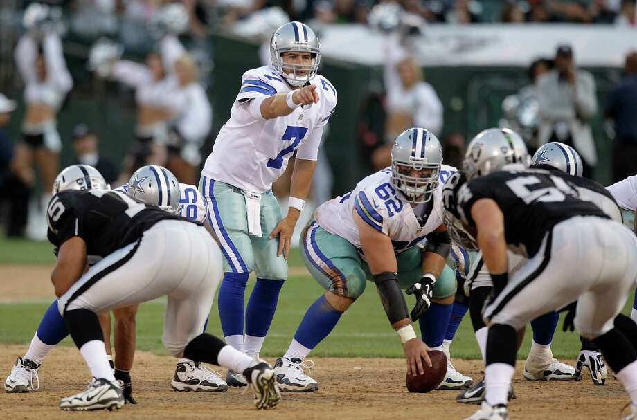 Dallas Cowboys quarterback Stephen McGee (7) calls a play at the line of scrimmage during the second half of an NFL preseason football game against the Oakland Raiders in Oakland, Calif., Monday, Aug. 13, 2012. (AP Photo/Ben Margot) Photo: Ben Margot, Associated Press / AP