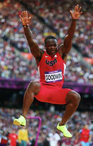 LONDON, ENGLAND - AUGUST 03: Marquise Goodwin of the United States competes in the Men's Long Jump qualification on Day 7 of the London 2012 Olympic Games at Olympic Stadium on August 3, 2012 in London, England. Photo: Michael Steele, Getty Images / 2012 Getty Images