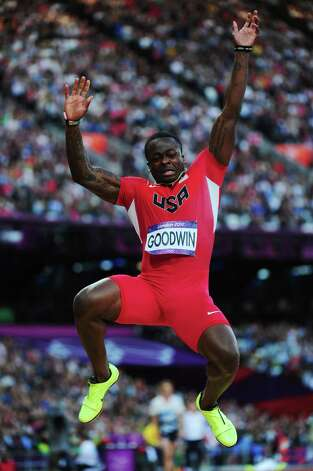 LONDON, ENGLAND - AUGUST 04:  Marquise Goodwin of the United States competes in the Men's Long Jump Final on Day 8 of the London 2012 Olympic Games at Olympic Stadium on August 4, 2012 in London, England. Photo: Stu Forster, Getty Images / 2012 Getty Images