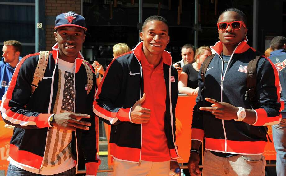 US athletes (from L) Will Claye, long jumper George Kitchens and long jumper Marquise Goodwin pose for pictures upon arrival at the premier of the film The Lorax in Birmingham, central England, on July 22, 2012. AFP PHOTO/ANDREW YATESANDREW YATES/AFP/GettyImages Photo: ANDREW YATES, AFP/Getty Images / AFP