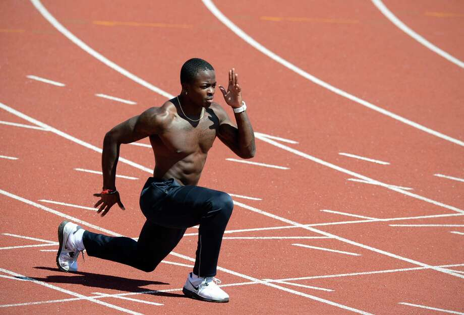 U.S athlete Marquise Goodwin is seen during a training session at Alexander Stadium, the US athletics training camp, in Birmingham on July 23, 2012. Mitchell will be competing in the 400 metres relay. AFP PHOTO / ADRIAN DENNISADRIAN DENNIS/AFP/GettyImages Photo: ADRIAN DENNIS, AFP/Getty Images / AFP
