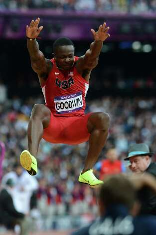 US' Marquise Goodwin competes in the men's long jump qualifying rounds at the athletics event during the London 2012 Olympic Games on August 3, 2012 in London. AFP PHOTO / FRANCK FIFEFRANCK FIFE/AFP/GettyImages Photo: FRANCK FIFE, AFP/Getty Images / AFP