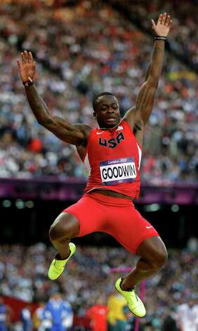 United States' Marquise Goodwin makes an attempt during the mens long jump qualification at the athletics competition in the Olympic Stadium at the 2012 Summer Olympics, Friday, Aug. 3, 2012, in London. (AP Photo/David J. Phillip ) Photo: David J. Phillip, Associated Press / AP