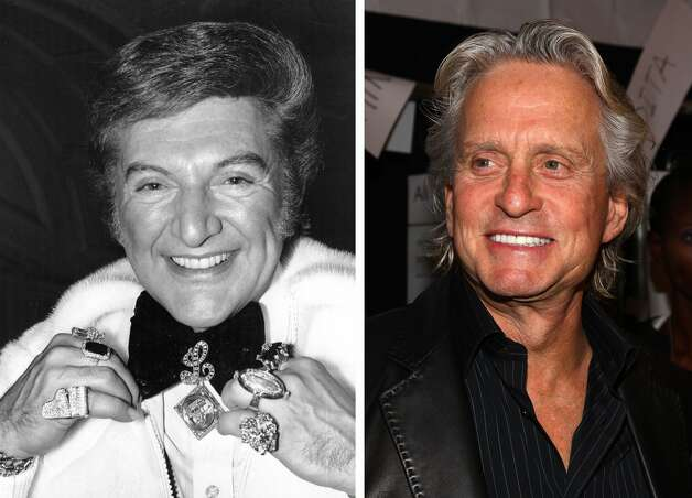 Michael Douglas (right) will play flamboyant American pianist Liberace in an HBO film biopic entitled 'Behind the Candelabra,' directed by Steven Soderbergh. Matt Damon plays Scott Thorson, Liberace's lover. ((left) David Ashdown/Keystone/Getty Images / (right) Astrid Stawiarz/Getty Images for IMG)