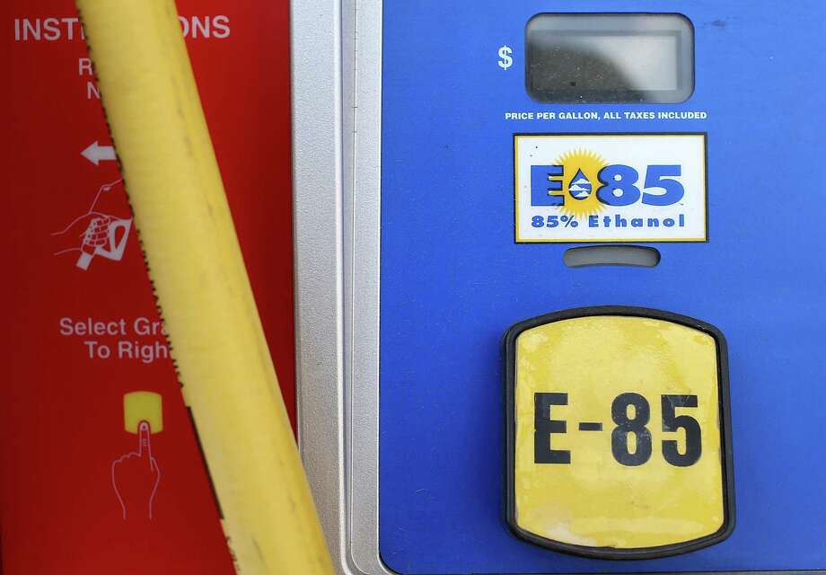 JOHNSTON, IA - AUGUST 07:  A decal advertising E85 Ethanol is displayed on a gas pump at a Kum and Go gas station on August 7, 2012 in Johnston, Iowa.  An exceptionally hot summer and the worst drought in more than a half century has caused cut prospects for the U.S. corn crop to a five-year low and has sent prices up to over $8.00 a bushel in late July trading. The price surge and limited supply has also prompted ethanol plants to voluntarily slow production by 20 percent, a two year low. Photo: Justin Sullivan, Getty Images / 2012 Getty Images