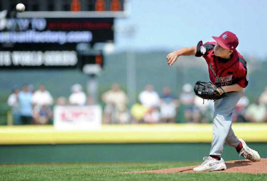 Fairfield American's pitcher Nick Nardone fires home in Fairfield's opening Little League World Series game against Auburn, Wash. on Aug. 20, 2010 in South Williamsport, Pa. Nardone is the only Fairfield pitcher to ever win a Little League World Series game. Photo: File Photo