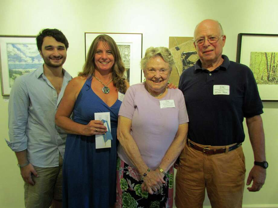"Award-winning artists at the Rowayton Arts Center's recent opening reception for ""Beyond Brushwork"" included (from left) Keith Appleby, Lisa Grant, Jessica Huse and Rick Pank. Photo: Contributed Photo / Norwalk Citizen"