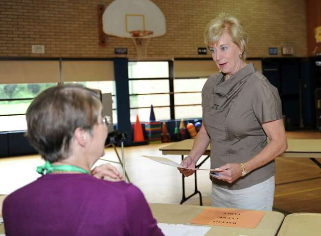 Republican candidate for U.S. Senate Linda McMahon comes to vote in the primary at North Street School Tuesday, Aug. 14, 2012. Photo: Helen Neafsey / Greenwich Time