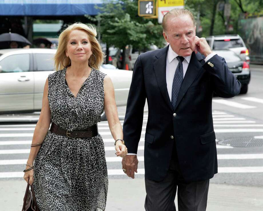 "Television host Kathie Lee Gifford and her husband Frank Gifford arrive for the funeral of Marvin Hamlisch, in New York's Temple Emanu-El, Tuesday, Aug. 14, 2012. Hamlisch composed or arranged hundreds of scores for musicals and movies, including ""A Chorus Line"" on Broadway and the films ""The Sting,"" ''Sophie's Choice,"" ''Ordinary People"" and ""The Way We Were."" He won three Oscars, four Emmys, four Grammys, a Tony, a Pulitzer and three Golden Globes. Hamlisch died Aug. 6 in Los Angeles at age 68. (AP Photo/Richard Drew) Photo: Richard Drew"