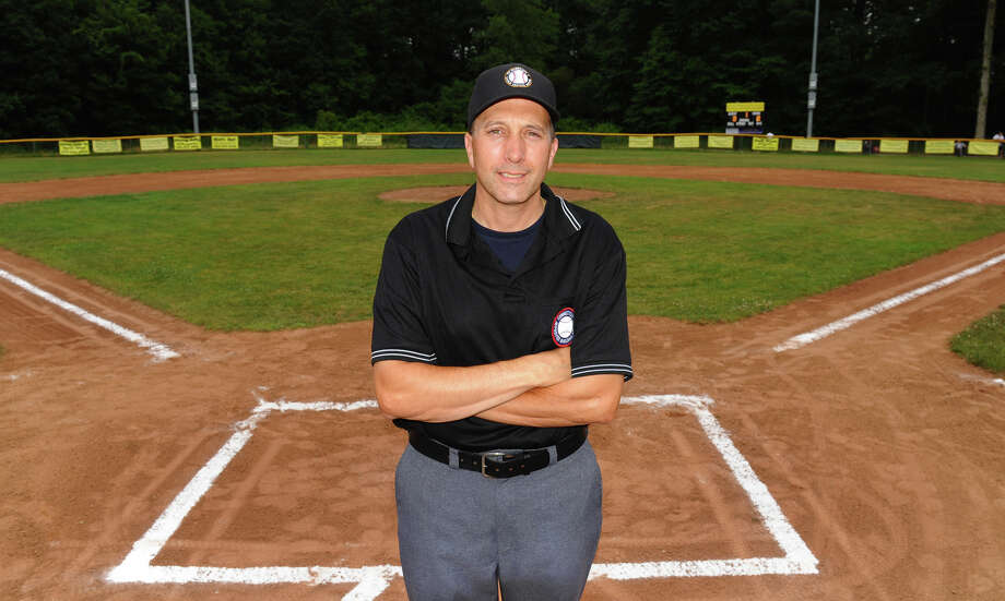Umpire Darrin Besescheck before the Seymour vs Union City little league game in Shelton, Conn. on Friday July 13, 2012.  Besescheck will be an umpire this year at the Little League World Series in Williamsport, PA. Photo: Christian Abraham
