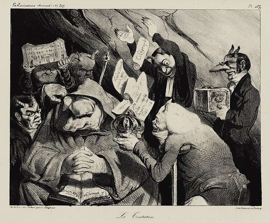 """""""Temptation (La Tentation),"""" La Caricature, Plate 453 (Vol. 9, Issue 217, Jan. 1, 1835), lithograph by Honoré Daumier. Photo: Cantor Art Center"""