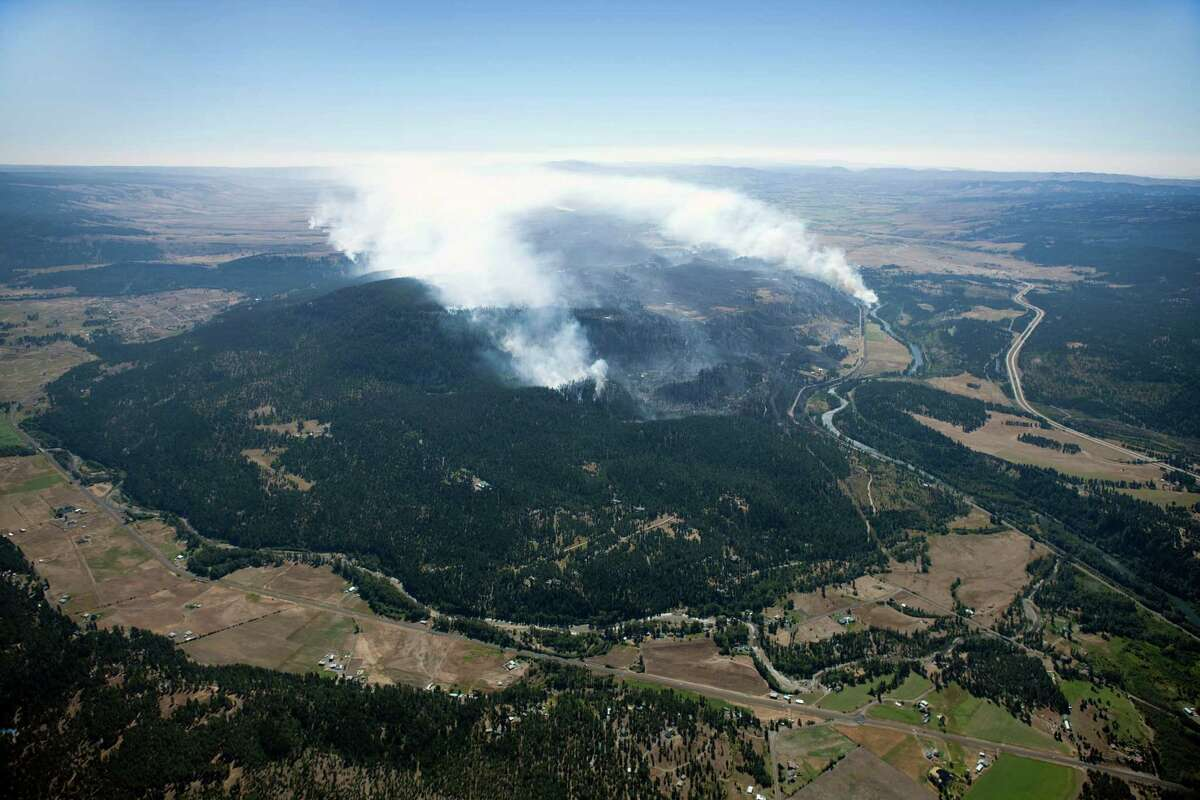 An aerial view of a wildfire just east of Cle Elum. The wildfire has already destroyed 60 homes and burned across nearly 45 square miles on the east slope of the Cascades.