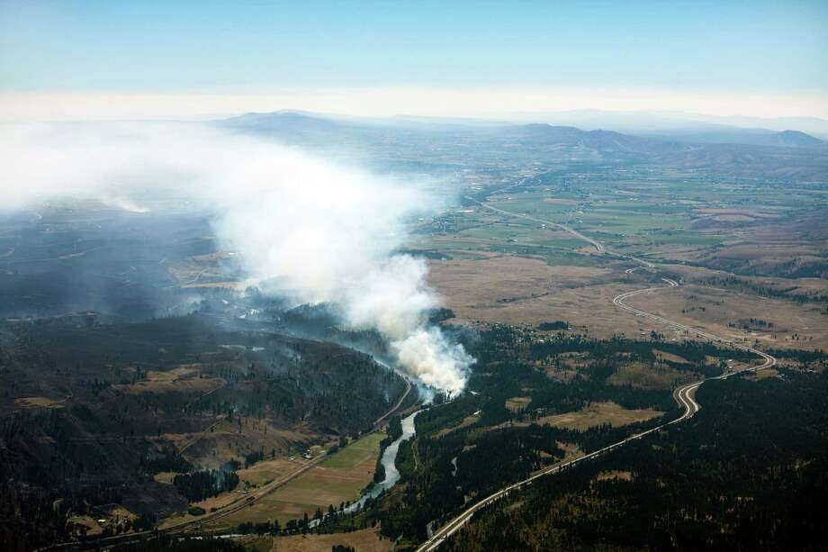 This image of the wildfire is looking east toward Ellensburg. Photo: Dan Crowell/Soundview Aerial