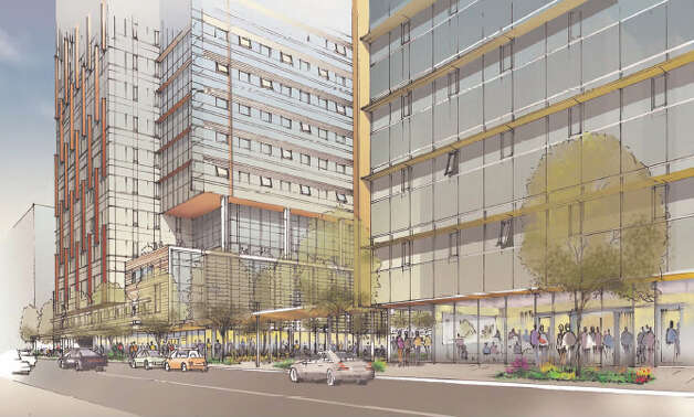 View of Amazon's proposed campus along 6th Avenue. Photo: Amazon/NBBJ