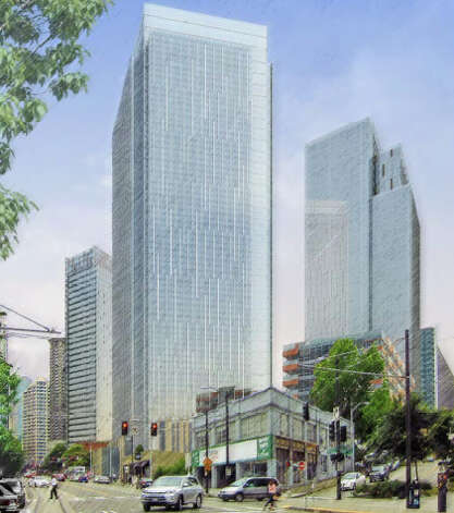 View of Amazon's proposed headquarters looking south along Westlake Avenue. Photo: Amazon/NBBJ