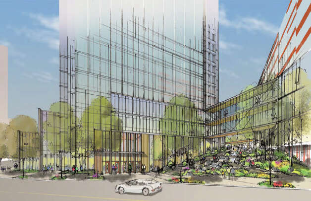 View of Amazon's proposed campus from 8th Avenue. Photo: Amazon/NBBJ