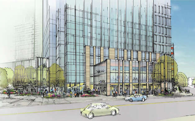 View of Amazon's proposed campus from Westlake Avenue. Photo: Amazon/NBBJ