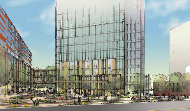 View of Amazon's proposed campus from 7th Avenue. Photo: Amazon/NBBJ