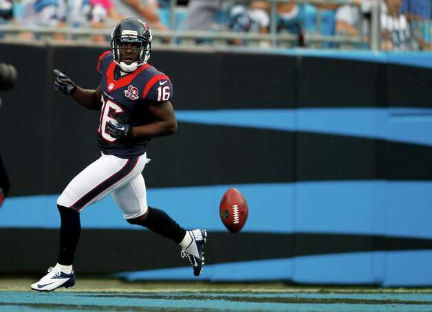 Houston Texans' Trindon Holliday (16) runs into the end zone for a touchdown against the Carolina Panthers during the first half of a NFL preseason football game in Charlotte, N.C., Saturday, Aug. 11, 2012. (AP Photo/Bob Leverone) Photo: Bob Leverone, Associated Press / FR170480 AP