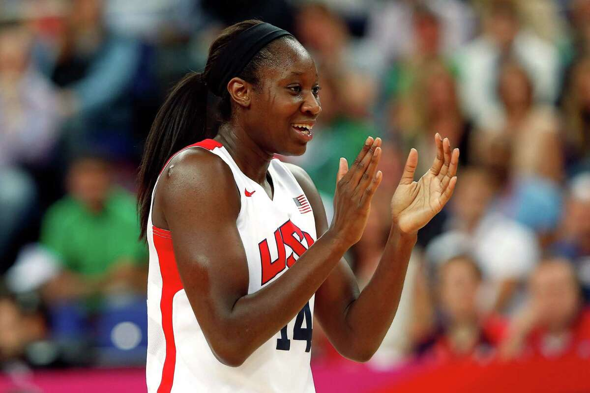 LONDON, ENGLAND - AUGUST 11: Tina Charles #14 of United States reacts in the second quarter while taking on France during the Women's Basketball Gold Medal game on Day 15 of the London 2012 Olympic Games at North Greenwich Arena on August 11, 2012 in London, England. (Photo by Jamie Squire/Getty Images)