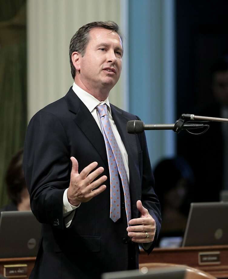 In this photo taken Monday, Aug. 13, 2012, Assemblyman Brian Nestande, R-Palm Desert, urged lawmakers to vote for a Democratic measure to close a tax loophole for out-of-state corporations, at the Capitol in Sacramento, Calif.,  Nestande resigned, Tuesday, as chairman of the Assembly Republican caucus a day after providing the lone GOP vote for the bill that closes a tax loophole for out-of-state corporations and uses the expected windfall to reduce college tuition. (AP Photo/Rich Pedroncelli) Photo: Rich Pedroncelli, Associated Press