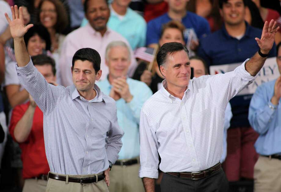 "Mitt Romney and presumed vice presidential candidate Paul Ryan (left): Can Ryan emerge as a social pragmatist and not an ""I've-got-mine"" American? Photo: Darren Hauck, Getty Images / 2012 Getty Images"
