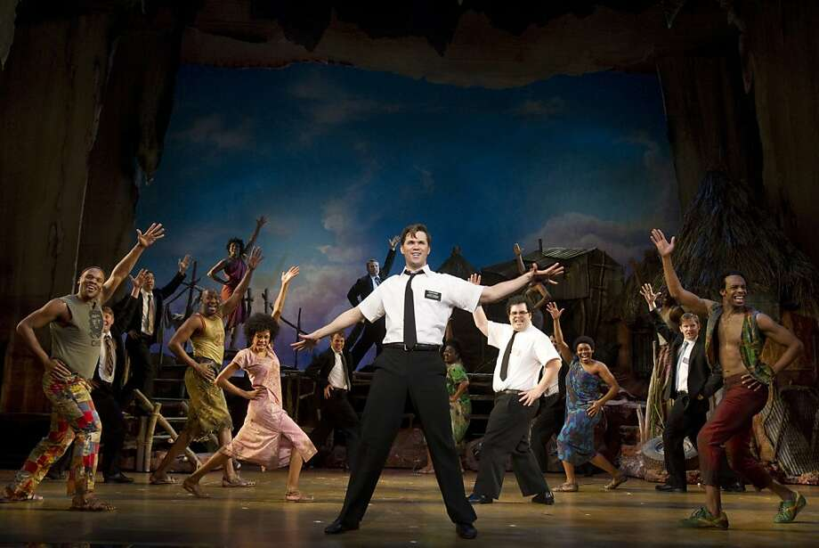 "The Broadway cast in ""The Book of Mormon."" The national tour of the blockbuster irreverent latter-day Broadway musical by ""South Park's"" creators will arrive for the SHN season. Photo: Joan Marcus"