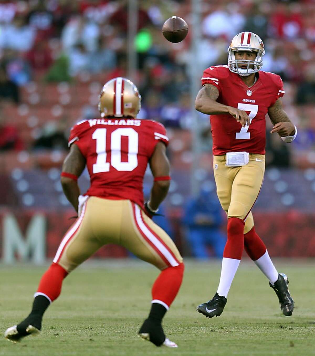 San Francisco 49ers Colin Kaepernick (7) completes a pass to Kyle Williams (10) in the second quarter against the Minnesota Vikings in a preseason exhibition game Friday August 10, 2012 in San Francisco Calif.