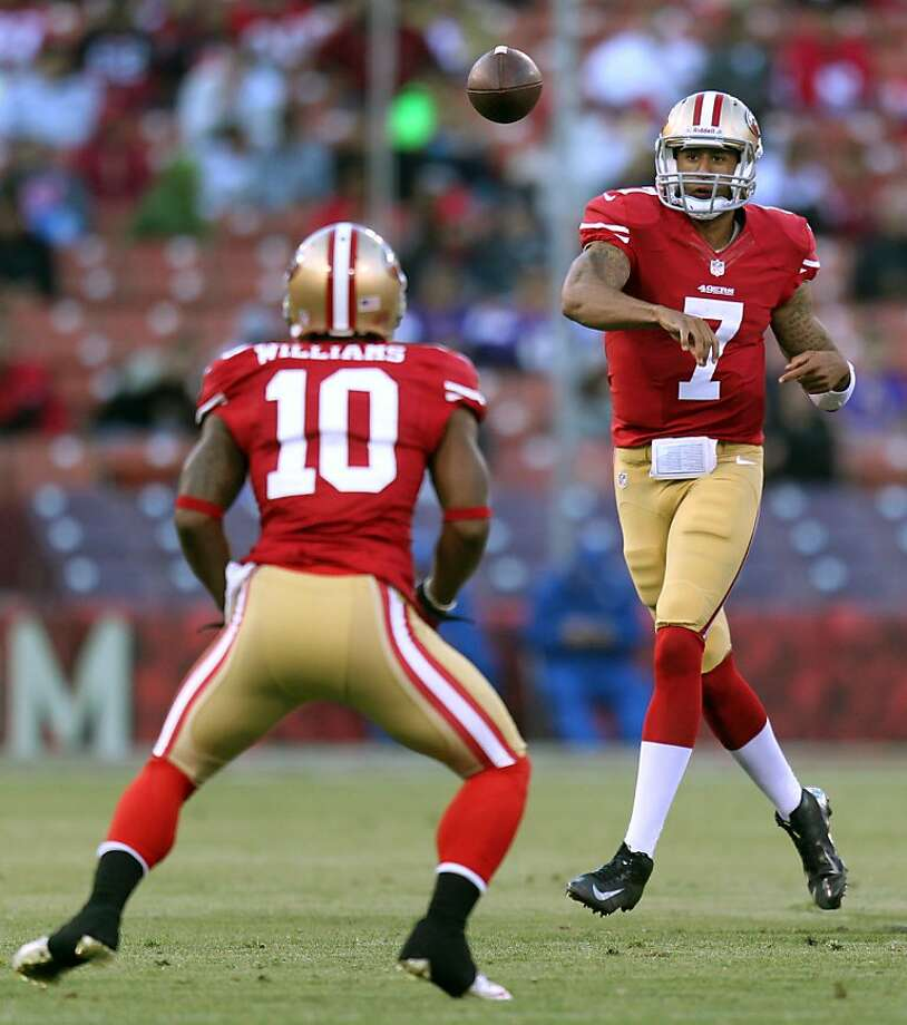 """Colin Kaepernick has """"emerged"""" in the early stages of training camp with his solid play as Alex Smith's backup quarterback. Photo: Lance Iversen, The Chronicle"""