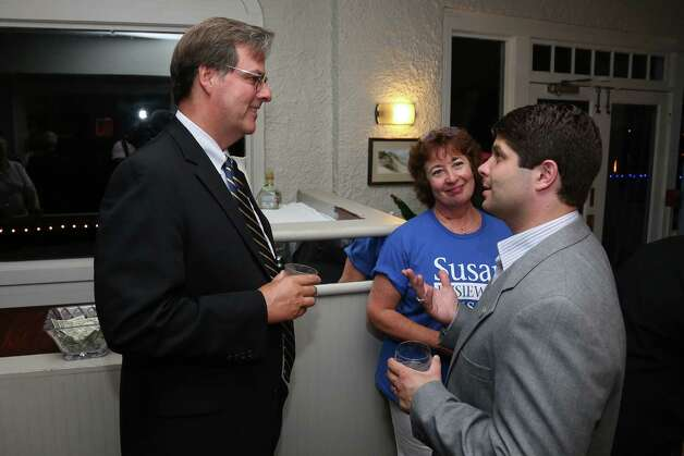 Susan Bysiewicz supporters (from left to right) Tom Luby, Former Middletown Mayor Dominique Thornton and current Middletown Mayor Dan Drew chat as they and other supporters await primary election results at Mattabesett Canoe Club in Middletown, Conn on Tuesday Aug. 14, 2012. Bysiewicz lost the primary to Chris Murphy, the democratic candidate for US Senate to face Republican Linda McMahon in November. Photo: Mike Ross / Connecticut Post Freelance