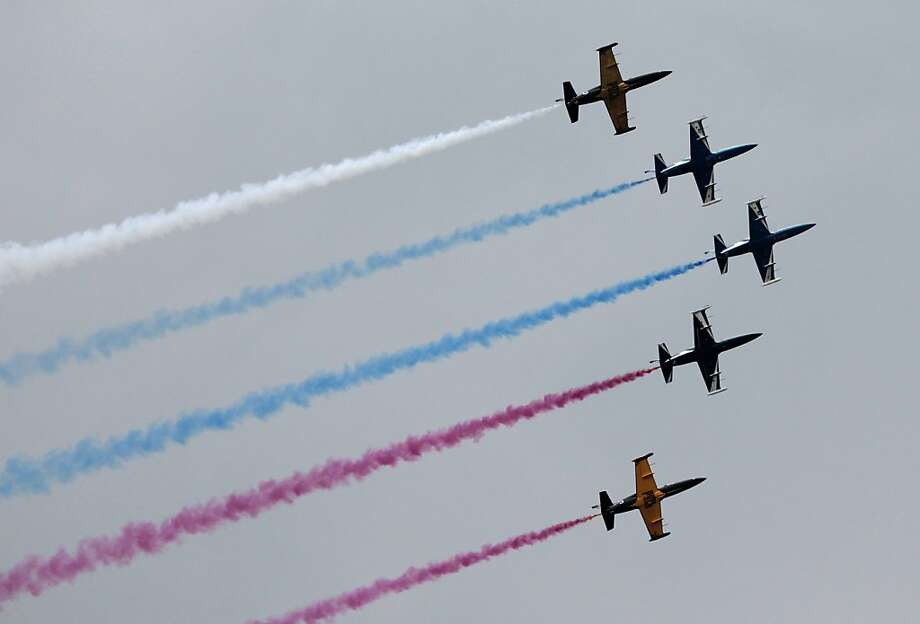 Russian aerobatics group Rus performs during a celebration marking the Russian air force's 100th anniversary in Zhukovsky, outside Moscow, Russia, Saturday, Aug. 11, 2012.  Photo: Misha Japaridze, Associated Press