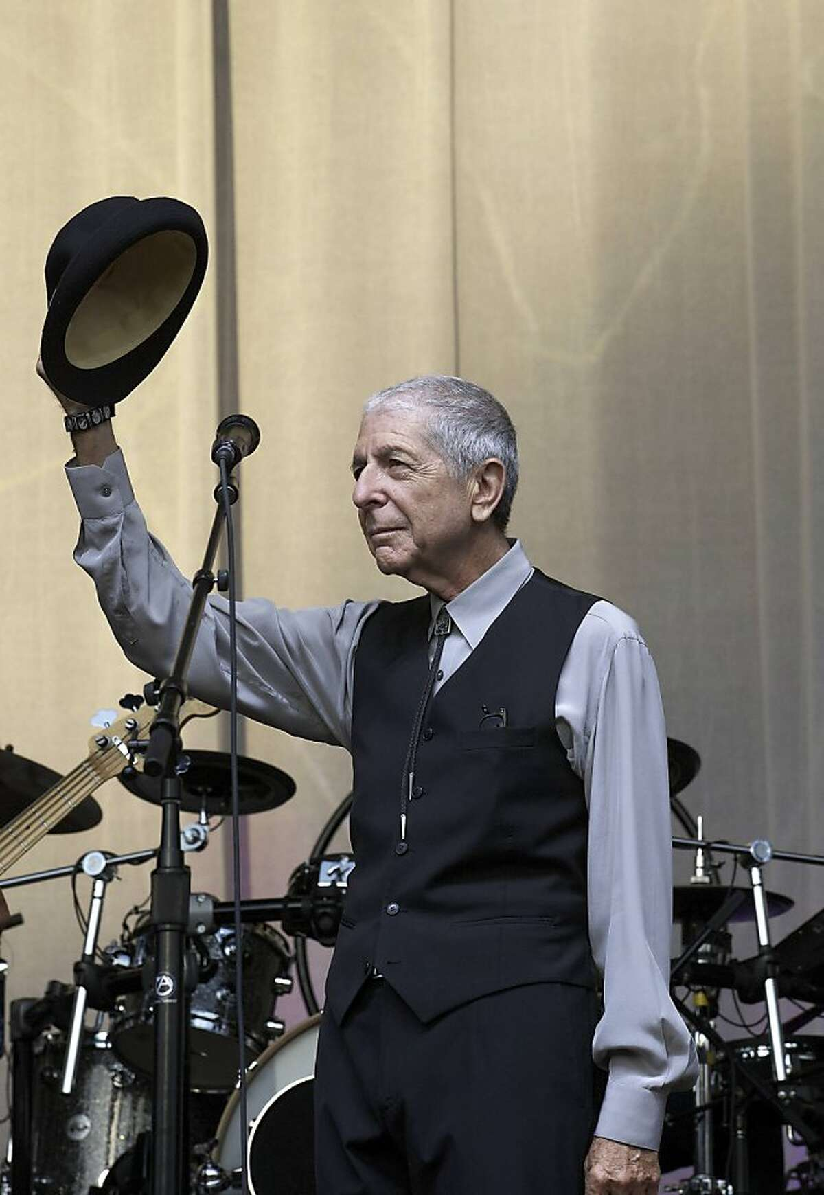 Canadian Leonard Cohen performs during a concert on Sint-Pietersplein in Gent,on August 12, 2012. AFP PHOTO /NICOLAS MAETERLINCKNICOLAS MAETERLINCK/AFP/GettyImages