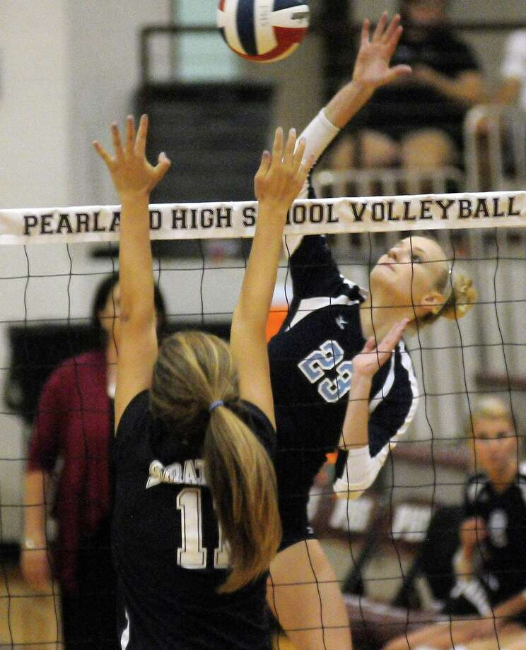 Madison McClurg goes for the kill against Stratford. Photo: Dave Rossman, For The Houston Chronicle / © 2012 Dave Rossman