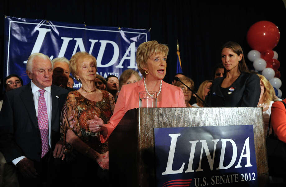 Republican Linda McMahon of Greenwich celebrates her U.S. Senate primary election victory over opponent Christopher Shays at the Hilton Stamford Hotel, Tuesday night, Aug. 14, 2012. Photo: Bob Luckey / Greenwich Time