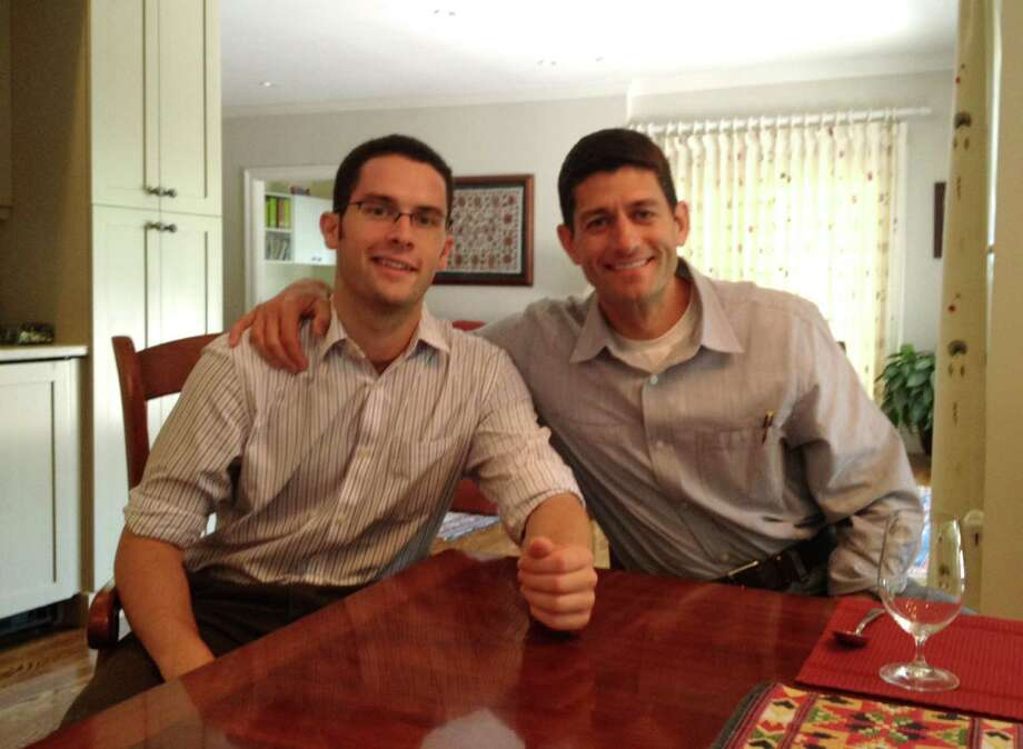 Union College student Curt Myers, left, with Republican Vice Presidential candidate, Rep. Paul Ryan, right, Aug. 5 2012, in Brookline Mass. (Courtesy / Curt Myers)