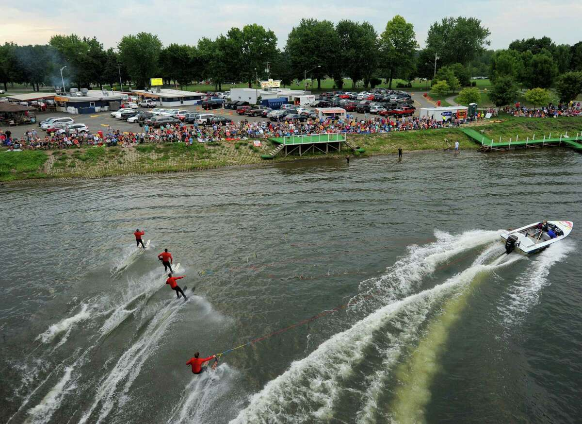 The U.S. Water Ski Show Team performs on the Mohawk River at Jumpin' Jack's in Scotia, NY Tuesday Aug, 14,2012. (Michael P. Farrell/ Times Union)