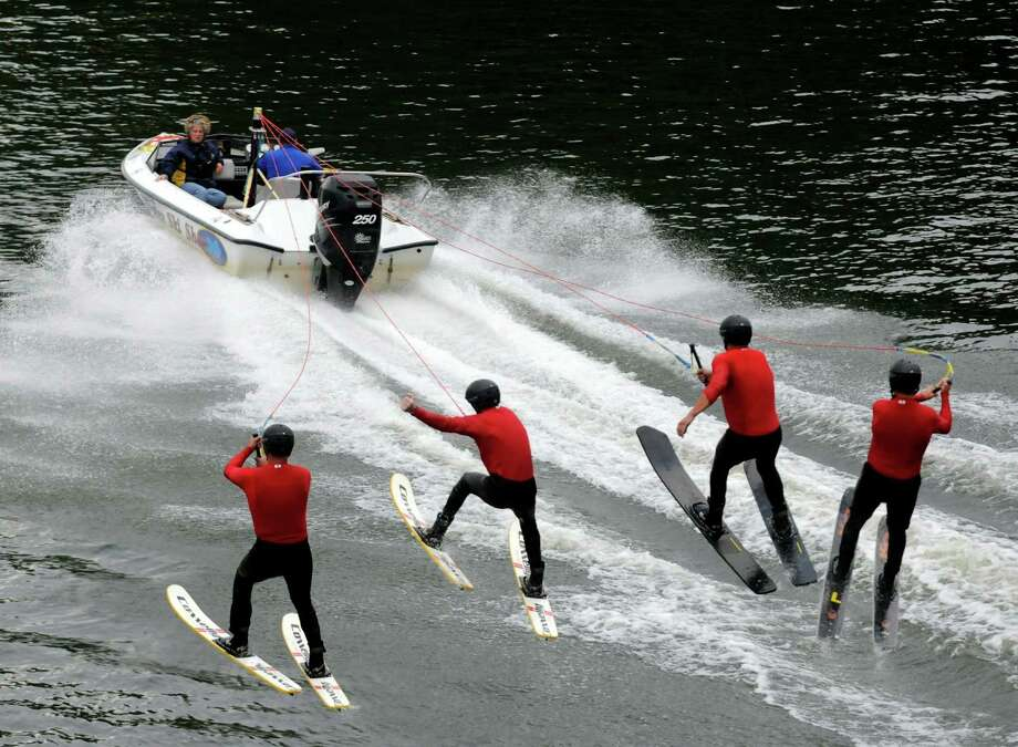 The U.S. Water Ski Show Team performs on the Mohawk River at  Jumpin' Jack's in Scotia, NY Tuesday Aug, 14,2012. (Michael P. Farrell/ Times Union) Photo: Michael P. Farrell