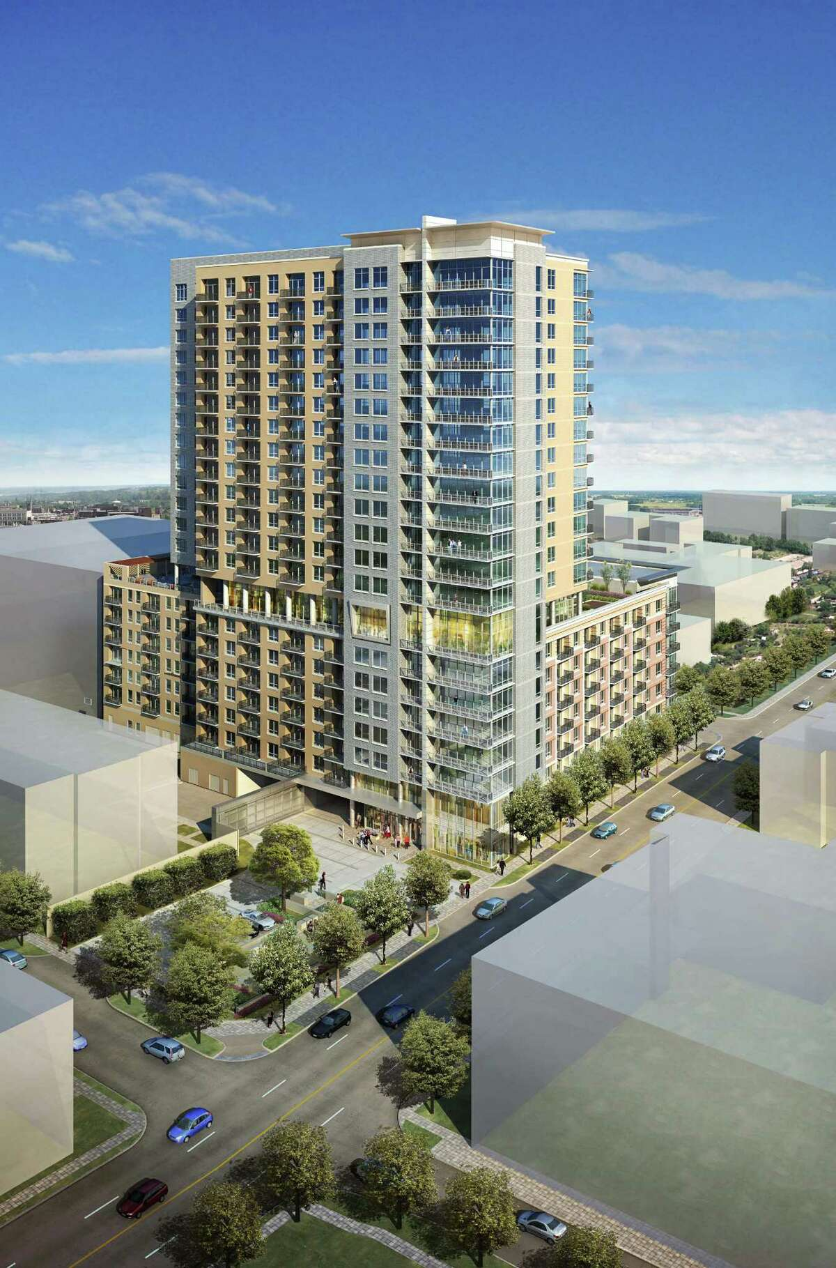 This rendering shows The Sovereign, a 21-story apartment tower that will be built at 3233 W. Dallas.