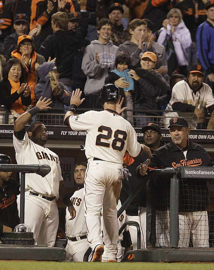 San Francisco Giants' Buster Posey (28) is congratulated after scoring against the Washington Nationals in the eighth inning of a baseball game Tuesday, Aug. 14, 2012, in San Francisco. Posey scored on a single by Giants' Brandon Belt. (AP Photo/Ben Margot) Photo: Ben Margot, Associated Press