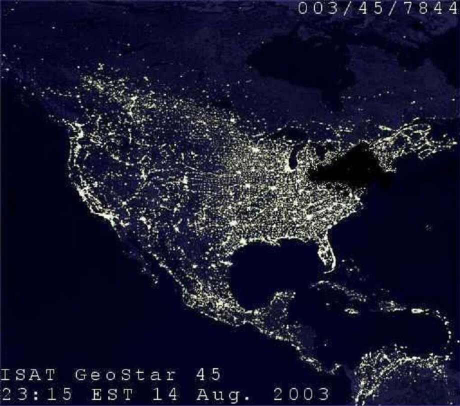 Satellite image of the United States on Aug. 14, 2003. (NASA)