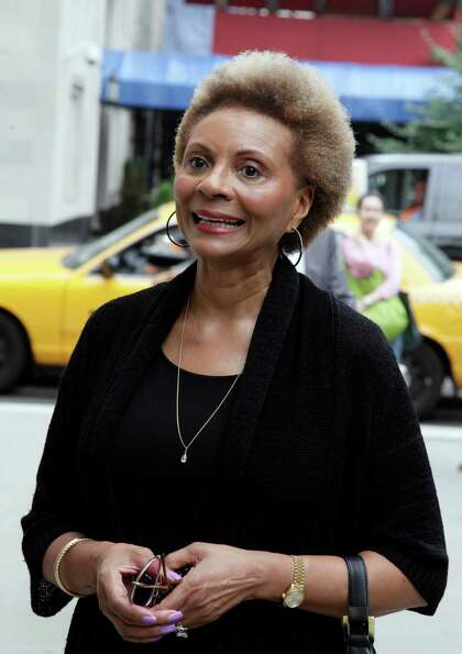Actress and singer Leslie Uggams arrives for the funeral of Marvin Hamlisch, in New York's Temple Em