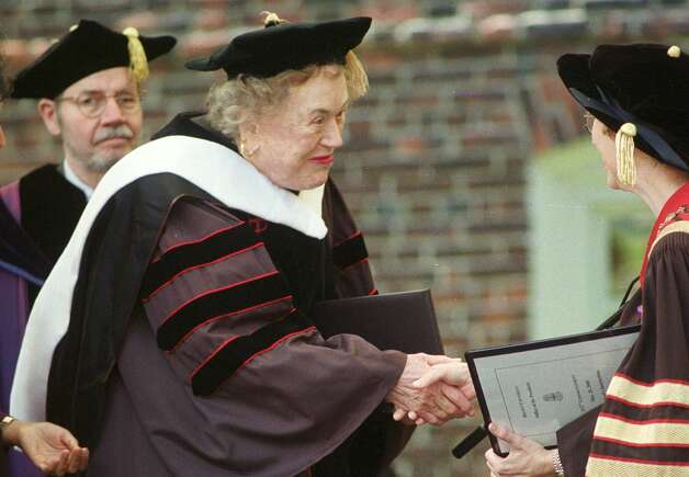 Julia Child receiving an honorary doctorate of humane letters from Brown University. 2000. (SFC Archives)