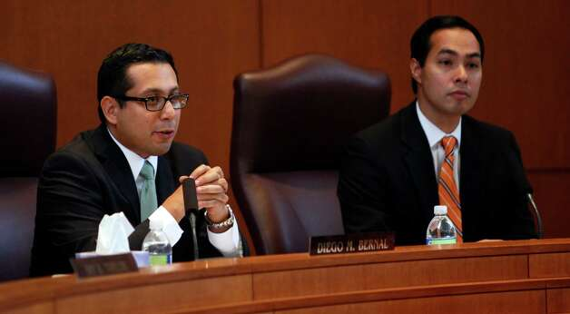City Council member Diego Bernal, left, speaks Wednesday afternoon Aug. 15, 2012 during a meeting of the City Council's Governance Committee before voting infavor of a proposed payday lending ordinance. Photo: William Luther, San Antonio Express-News / © 2012 San Antonio Express-News