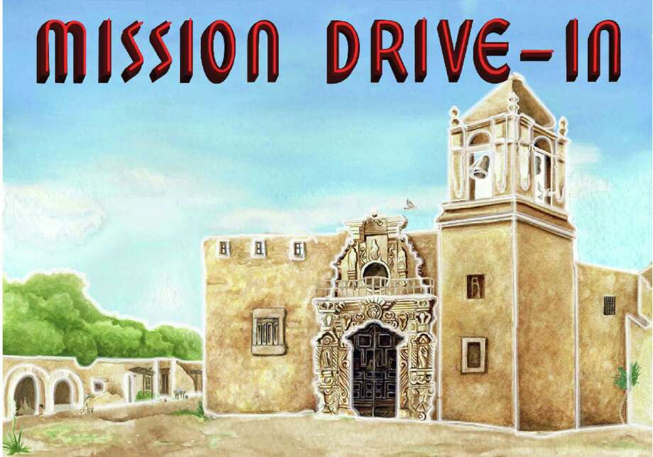 The latest design for a restored mural at the old Mission Drive-In Theatre is a full-color rendering of the church at Mission San JosŽ, without any human figures. The city and its consultants removed two men in sombreros from its restoration of the 1940s mural, and added a mission wall and greenery. Photo: CITY OF SAN ANTONIO