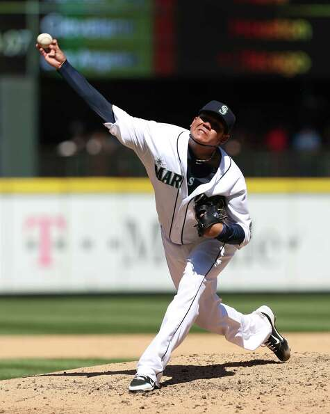 Felix Hernandez  pitches against the Tampa Bay Rays at Safeco Field on Wednesday.  (Photo by Otto G