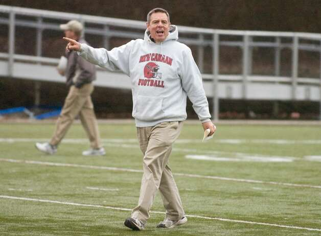 Head coach Lou Marinelli during football practice at New Canaan High School in New Canaan, Conn. on Thursday, Dec. 3, 2009. The Rams will play for a repeat of the state title on Saturday. Photo: Chris Preovolos / Stamford Advocate