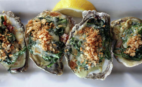 A half dozen Oysters Rockefeller, made with seasonal Texas Gulf oysters, at Knife & Fork Gastropub. www.knifeforkgastropub.com Photo: Lisa Krantz, San Antonio Express-News / San Antonio Express-News
