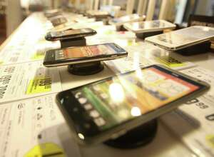 A wide selection of phones are on display Wednesday August 15, 2012 at Best Buy Mobile in Ingram Park Mall.